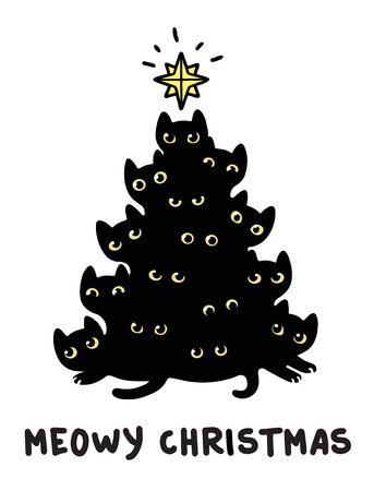 Cute cartoon black cats Christmas tree silhouette with text Meowy Christmas. Funny greeting card vector illustration. Illustration