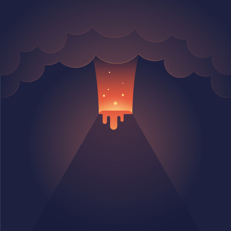 vulcanology: Erupting volcano illustration. Spectacular night eruption with dark clouds and streaming lava. Modern flat vector style.