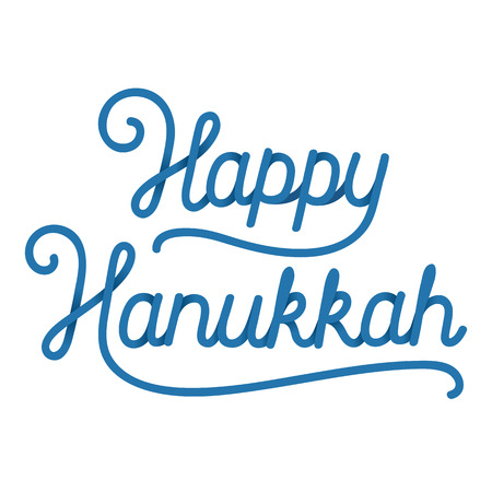 hebrew script: Happy Hanukkah handwritten lettering composition. Holiday greeting card vector illustration. Illustration