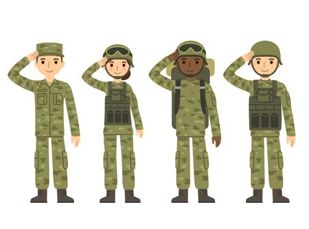 feminino: Os soldados do exército dos EUA, homens e mulheres, em saudação camuflar combate uniforme. estilo dos desenhos animados plana bonito. Ilustração do vetor isolado.