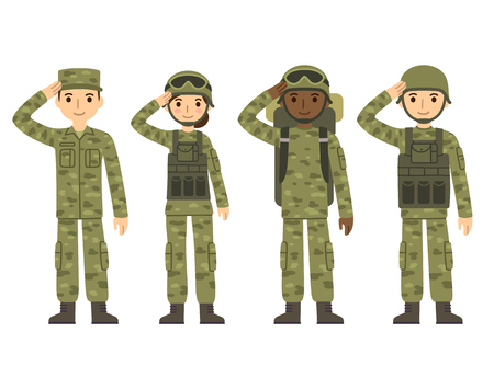 helmet: US Army soldiers, men and woman, in camouflage combat uniform saluting. Cute flat cartoon style. Isolated vector illustration.