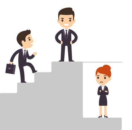Glass ceiling and workplace discrimination issues. Cartoon business men climbing corporate ladder excluding women. Isolated vector illustration.