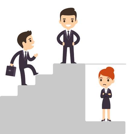 discriminacion: Techo de cristal y las cuestiones de discriminación en el trabajo. Hombres de negocios de la historieta que sube la escala corporativa con exclusión de las mujeres. Ilustración vectorial aislado.