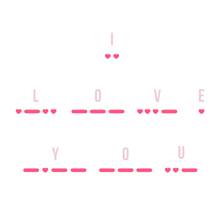 morse code: I Love You text in Morse code with hearts as dots. Creative minimalistic St. Valentines Day card. Vector illustration.