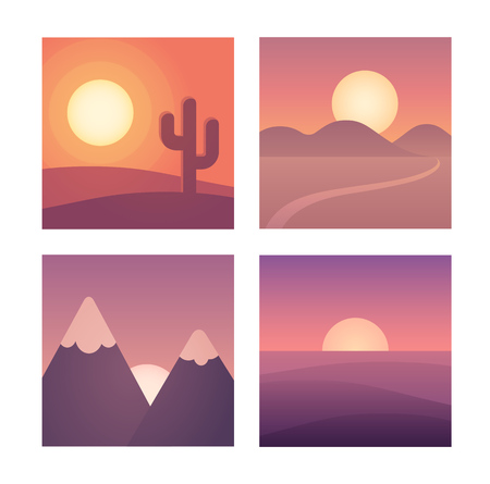 cactus cartoon: Flat cartoon sunset landscape set. Different locations: desert, mountains and sea. Background vector illustration collection. Illustration