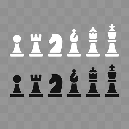 Modern minimal chess icon set on gray chessboard pattern. Simple flat vector Illustration. Çizim
