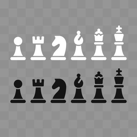 Modern minimal schaken icon set op grijs schaakbordpatroon. Eenvoudige vlakke vectorIllustratie.