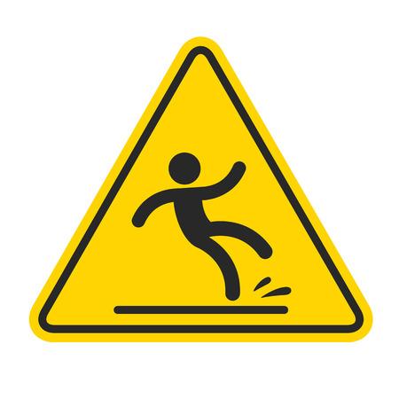 Natte vloer teken, gele driehoek met dalende man in een moderne stijl afgerond. Geïsoleerde vector illustratie. Vector Illustratie