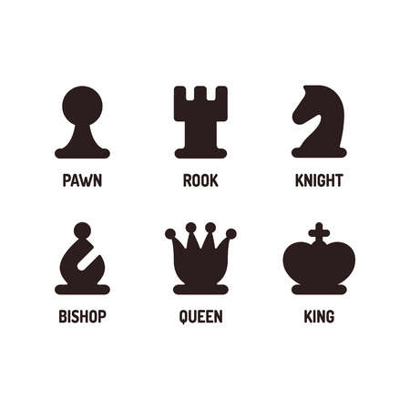 Modern minimal chess icon set. Simple flat vector Illustration.