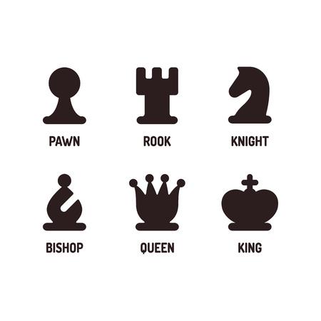 Modern minimal schaken icon set. Eenvoudige vlakke vectorIllustratie.