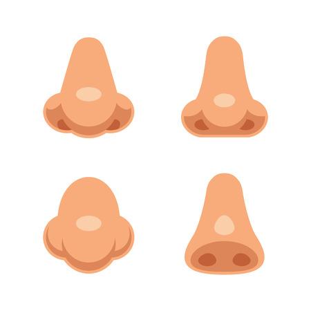 nariz: Un conjunto de narices humanas 4 de dibujos animados. ilustración vectorial partes del cuerpo aislado.
