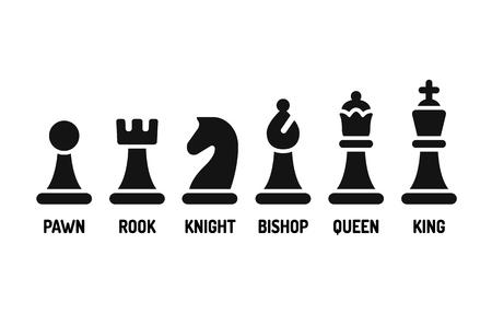 Modern minimal chess icon set. Simple flat vector Illustration.
