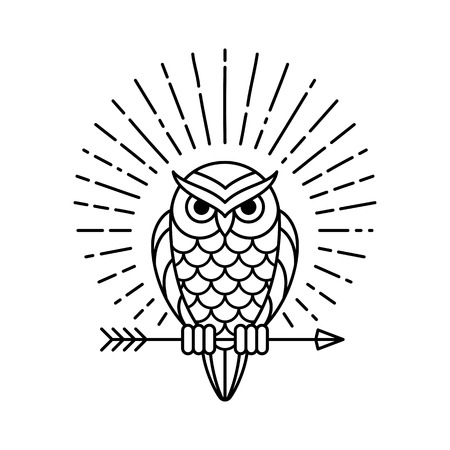 Owl outline emblem in geometric hipster style with arrow and beams. Vector line icon.