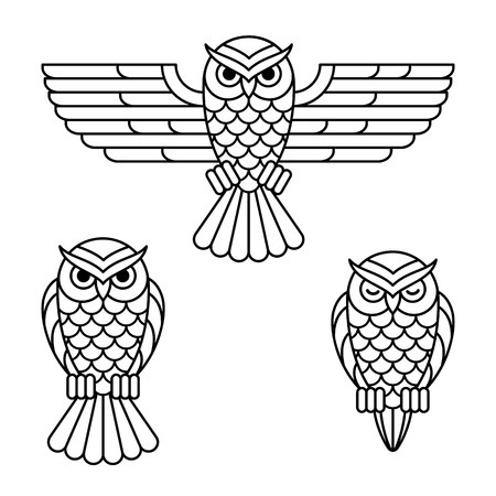 Owl outline emblem set in geometric hipster style. 3 variants: fluing, sitting and sleeping. Isolated vector line icon.