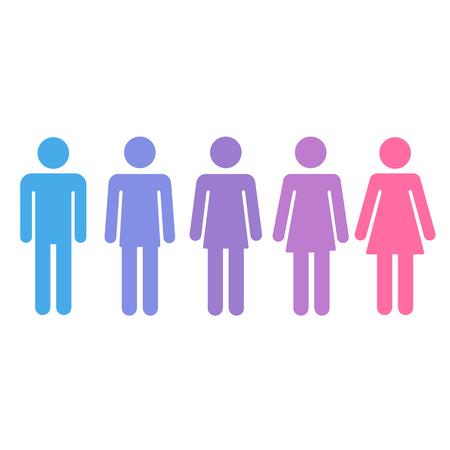 silueta hombre: Proceso de transición de la persona transexual de hombre a mujer. Género concepto transexual fluido. Ilustración vectorial aislado.