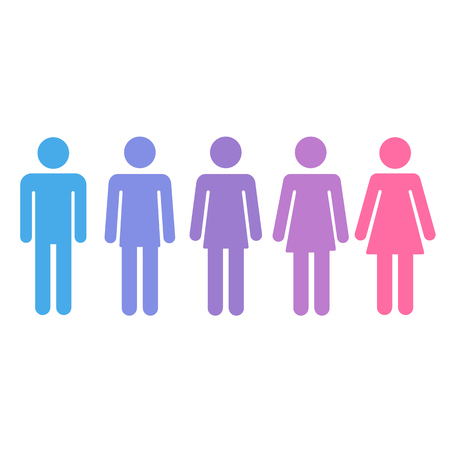 Transition process of person from male to female. Gender fluid transsexual concept. Isolated vector illustration.
