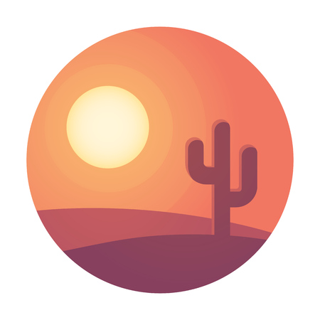 dunes: Flat cartoon desert sunset landscape with cactus in circle. Background vector illustration.