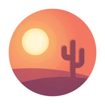 Flat cartoon woestijnlandschap zonsondergang met cactus in cirkel. Achtergrond vector illustratie.