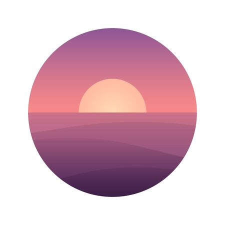 river       water: Flat cartoon ocean sunset landscape in circle. Background vector illustration.
