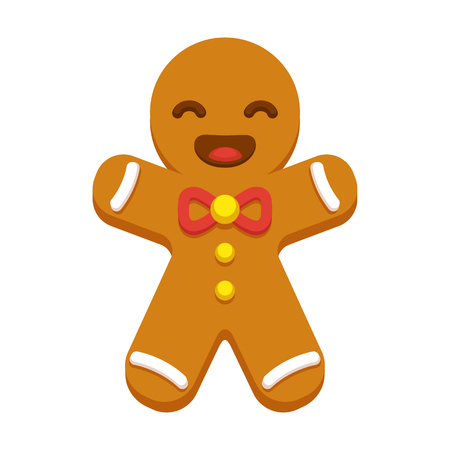 Happy cartoon gingerbread man cookie. Christmas greeting card element. Modern flat style vector illustration. Illustration