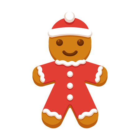 Cute cartoon gingerbread man cookie in red coat and Christmas hat. Modern flat style vector illustration.