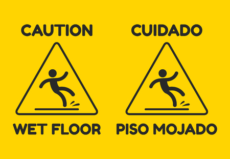 Yellow warning sign with text in English and Spanish: Caution, Wet Floor. Isolated vector illustration. Illustration