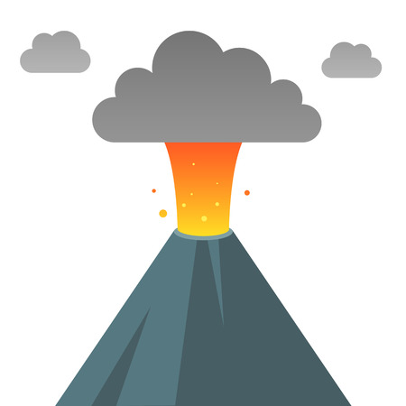 vulcanology: Erupting volcano in modern flat vector style. Isolated vector illustration.