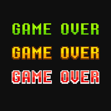 defeat: Set of old school pixel Game Over messages. Vector illustration.