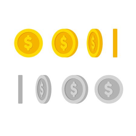 Płaski kreskówek złote i srebrne monety z symbolem dolara, zestaw ikon pod różnymi kątami dla animacji. Nowoczesne ilustracji wektorowych.