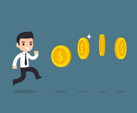 Cute cartoon businessman chasing coins video game style. Vector illustration.