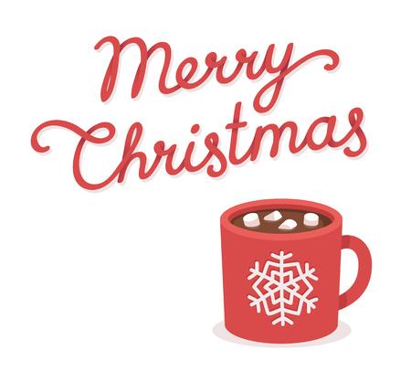 bebida: Cartão do Feliz Natal com chocolate quente e copo de marshmallow. Desenho lettering. Ilustração do vetor isolado. Ilustração