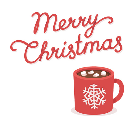 christmas drink: Merry Christmas greeting card with hot chocolate and marshmallow cup. Hand drawn lettering. Isolated vector illustration.