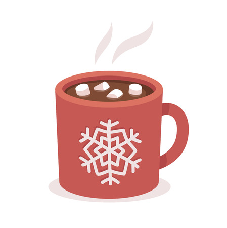 hot: Hot chocolate cup with marshmallows, red with snowflake ornament. Christmas greeting card design element. Isolated vector illustration.