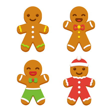gingerbread: Set of cute cartoon gingerbread man cookies. Christmas vector illustration.