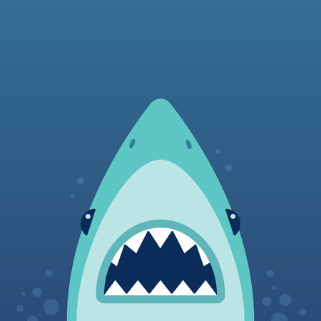 mouth: Shark with open jaws and sharp teeth. Vector illustration in flat cartoon style.