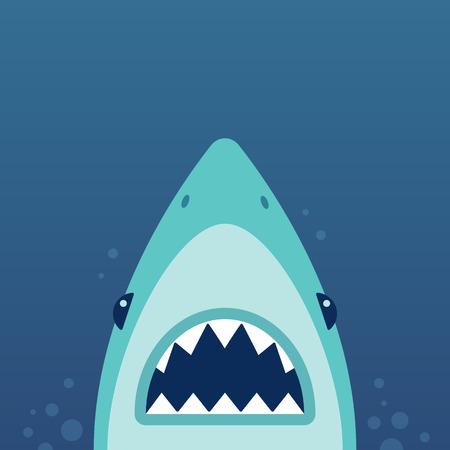 shark cartoon: Tiburón con las fauces abiertas y los dientes afilados. Ilustración del vector en estilo plano de dibujos animados.