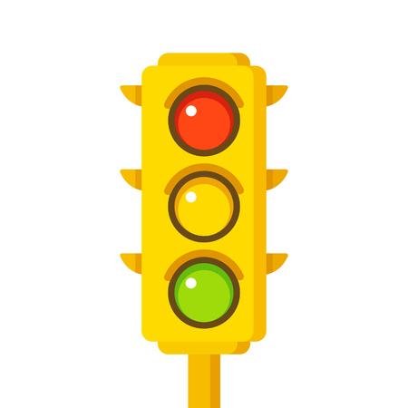 warning lights: Yellow traffic light icon, vector illustration in flat cartoon style.