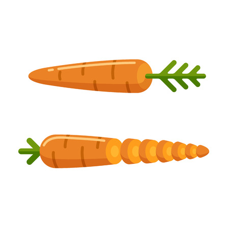 Flat cartoon style carrot icon, whole and sliced. Food and cooking illustration.