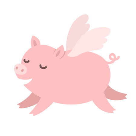 pig wings: Cute carton pig with wings, When pigs fly idiom illustration.