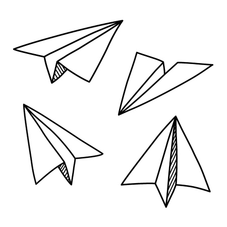 Doodle paper plane set in hand drawn sketch style