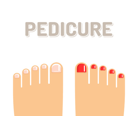toenail: Pedicure illustration, feet with french pedicure and red nail polish.
