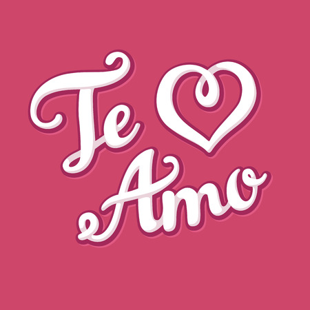 san valentin: Te Amo (I love You in Spanish) hand drawn lettering with heart shape. Valentines Day greeting card  Illustration