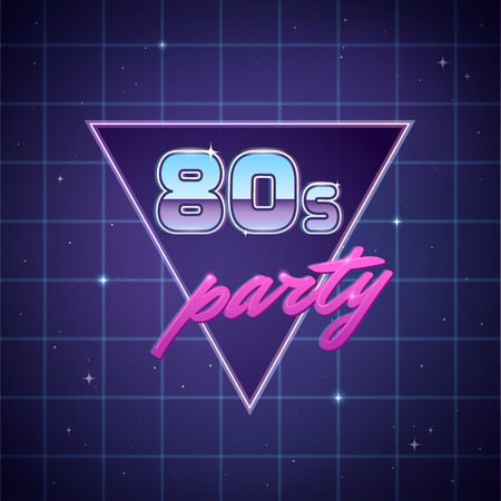 '80 Retro party poster sjabloon op neon sci-fi achtergrond.