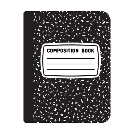 copy writing: Composition book template. Traditional school notebook illustration.