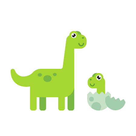 grown up: Cute cartoon dinosaurs, grown up and baby hatched from egg.