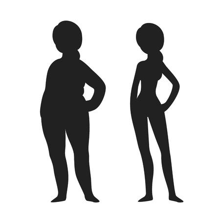 skinny: Dos siluetas de mujer joven, gordos y flacos. La pérdida de peso antes y después de la ilustración.