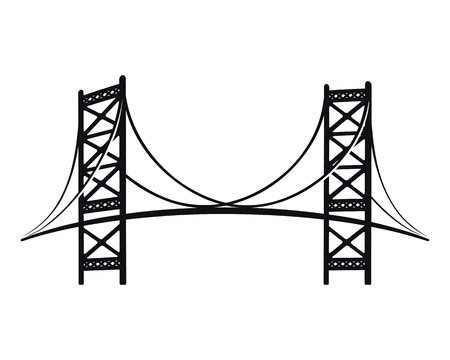 Benjamin Franklin Bridge, the symbol of Philadelphia. Stylish black silhouette graphic.