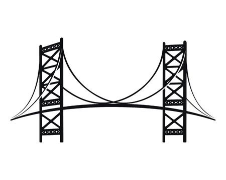 Benjamin Franklin Bridge, the symbol of Philadelphia. Stylish black silhouette graphic.