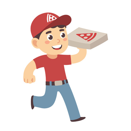 pepperoni pizza: Cute cartoon pizza delivery boy running with cardboard box with stylized pizza. Illustration
