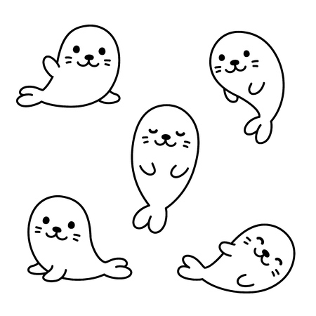 Cute cartoon baby seal pups.